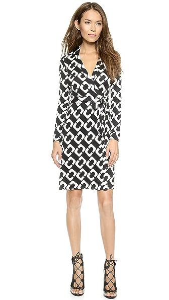 Diane Von Furstenberg New Jeanne Two Wrap Dress - Chain Link Large