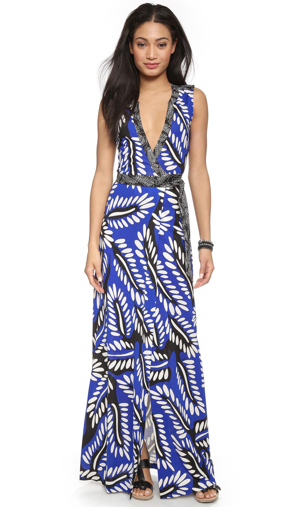 sleeveless printed wrap dress - Blue Diane Von F B7vsZg912m