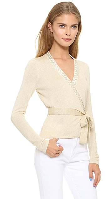 Diane von Furstenberg Embellished Ballerina Wrap Sweater