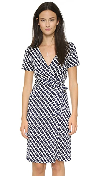 Diane Von Furstenberg New Julian Two Wrap Dress - Chain Link Medium Midnight