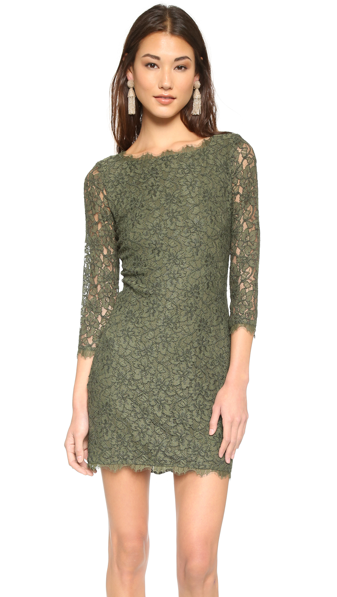 Diane von furstenberg zarita lace dress olive nite for Diane von furstenberg clothes