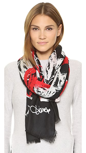 Diane Von Furstenberg Grace Hearts Faded Scarf - Hearts Faded Black