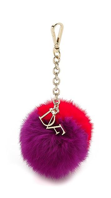 Diane von Furstenberg Bicolor Fur Pom Pom Bag Charm