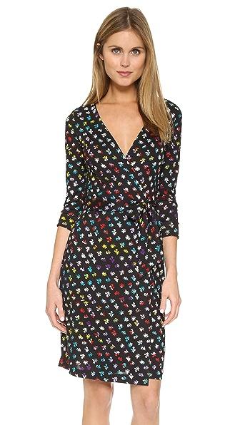 Diane Von Furstenberg New Julian Two Wrap Dress - Daisy Buds Tiny New Multi