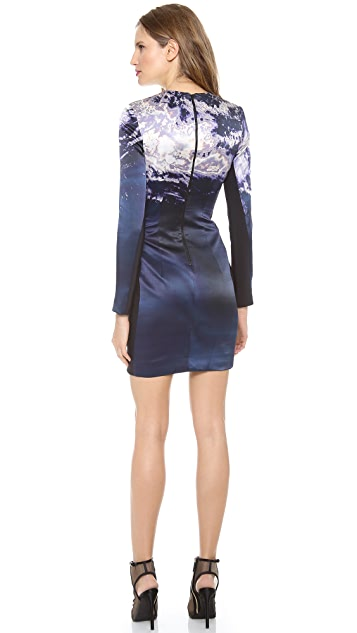 Dion Lee Printed Satin Long Sleeve Dress
