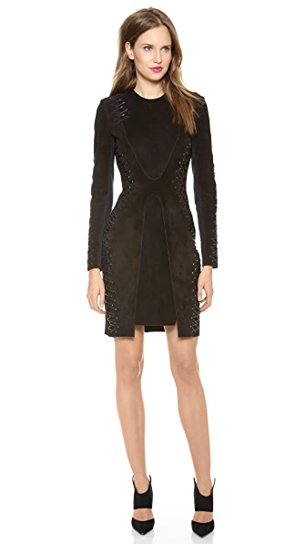 Dion Lee Suede Laced Long Sleeve Dress