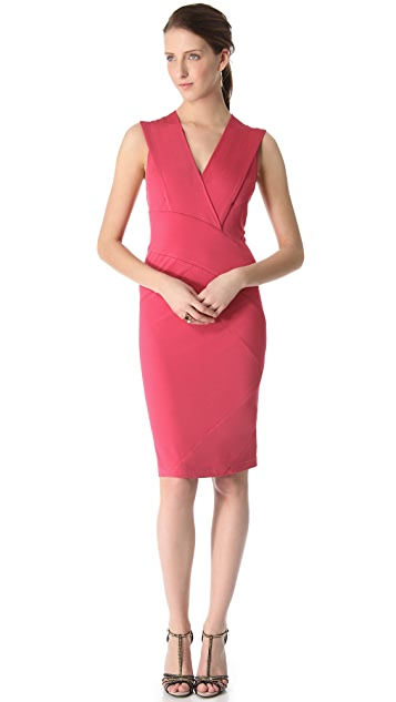Donna Karan New York Banded Plunge V Dress