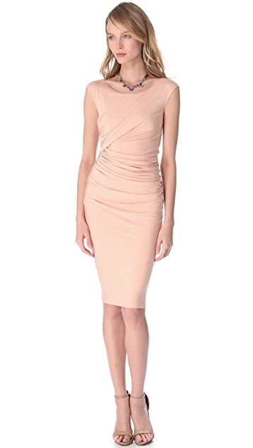Donna Karan New York Cap Sleeve Drape Dress