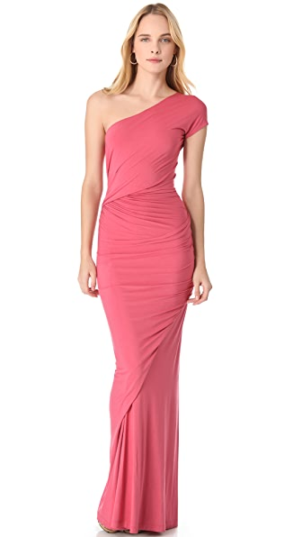 Donna Karan New York One Shoulder Drape Gown