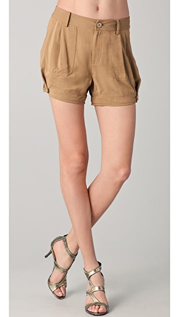 Donna Karan New York Pleated Shorts with Tabs