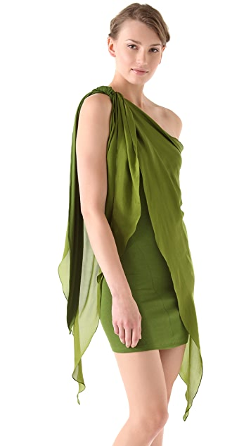 Donna Karan New York One Shoulder Draped Tunic