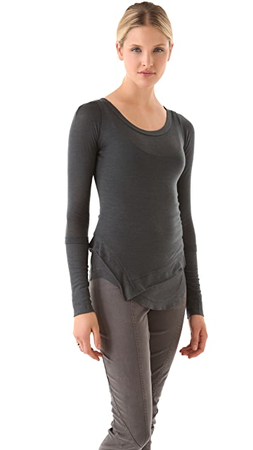 Donna Karan New York Double Layered Long Sleeve Top