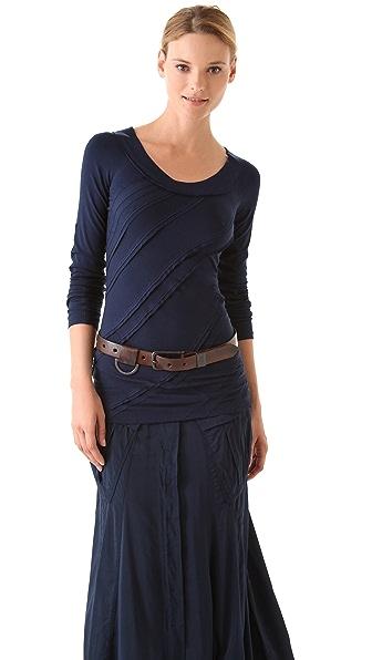 Donna Karan New York Long Sleeve Patchwork Tee