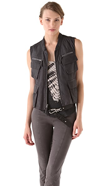 Donna Karan New York Zip Leather Vest