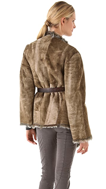 Donna Karan New York Reversible Draped Coat