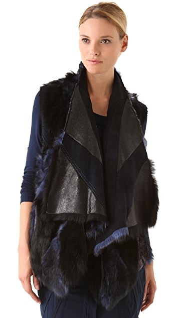 Donna Karan New York Reversible Patched Shearling Vest