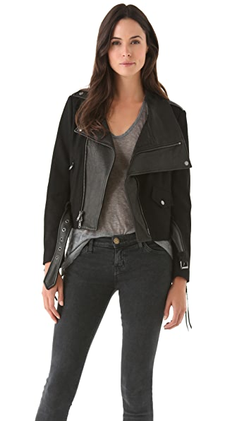 Donna Karan New York Felt & Leather Jacket
