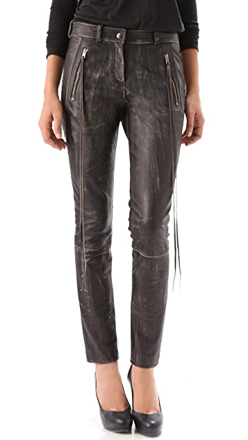 Donna Karan New York Leather & Jersey Pants