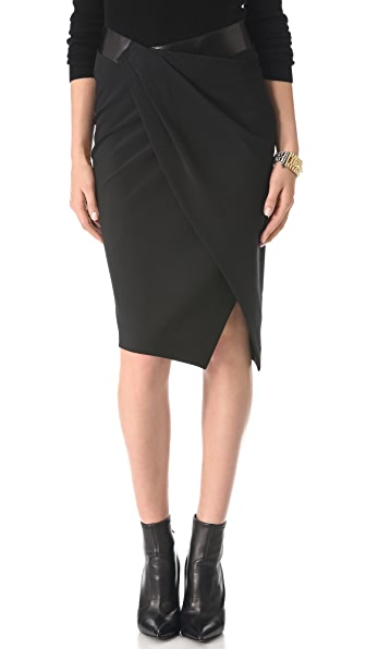 Donna Karan New York Sarong Pencil Skirt with Leather Band