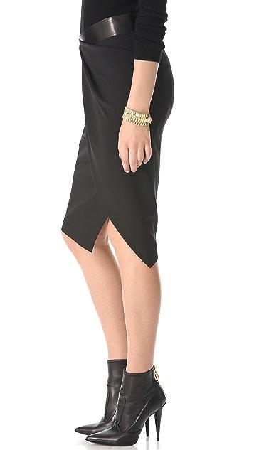 Donna Karan New York Sarong Pencil Skirt with Leather Band