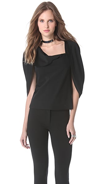 Donna Karan New York Satin Trimmed Capelet Top