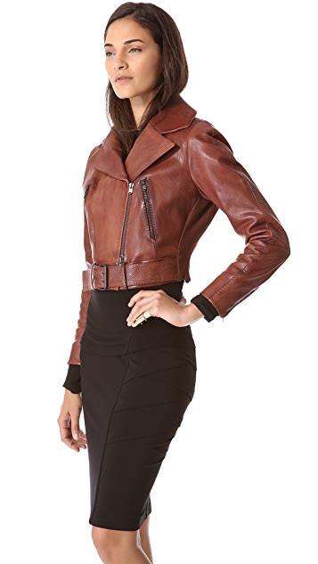 Donna Karan New York Cropped Leather Biker Jacket