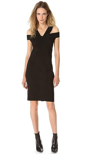 Donna Karan New York Off Shoulder Pieced Dress