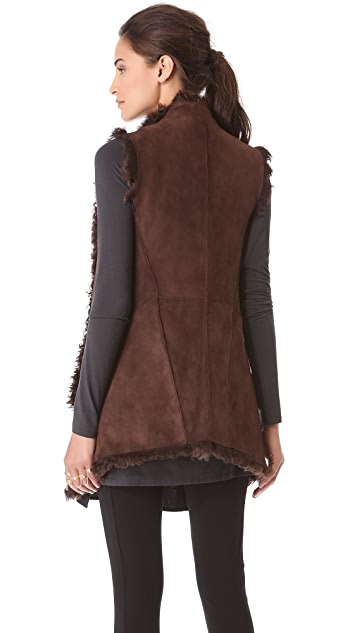 Donna Karan New York Reversible Draped Long Vest