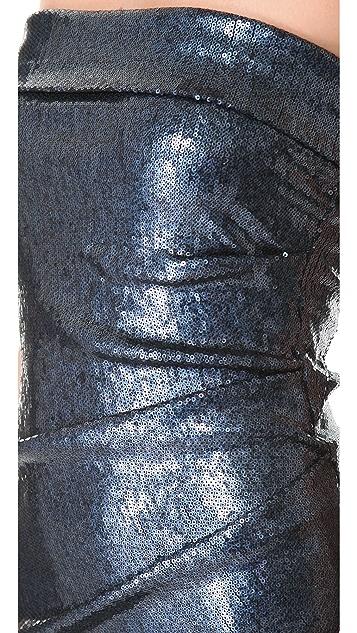 Donna Karan New York Twisted Tube Sequin Dress