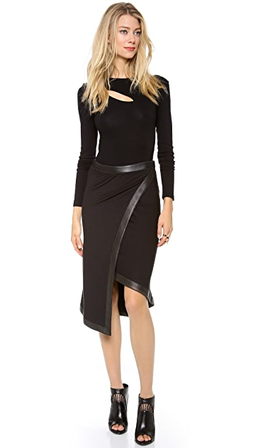 Donna Karan New York Wrap Skirt with Leather Trim
