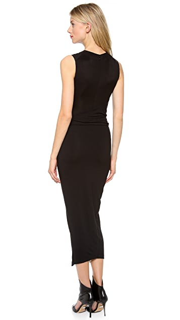 Donna Karan New York Jersey Dress with Leather Bodice