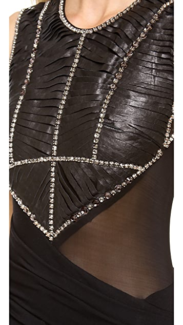 Donna Karan New York Rhinestone Embellished Slashed Leather Dress