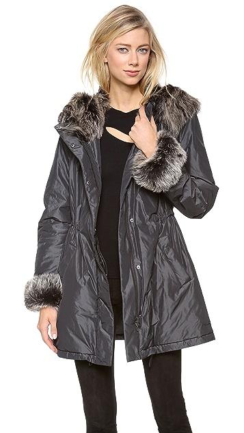 Donna Karan New York Parka with Shearling Hood