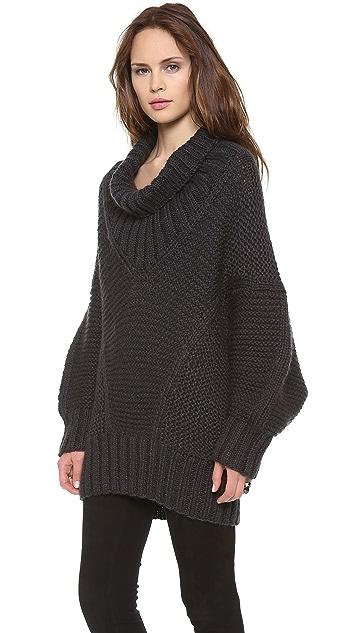 Donna Karan New York Long Sleeve Drape Neck Sweater