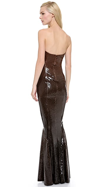 Donna Karan New York Strapless Sequin Evening Gown