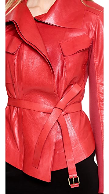 Donna Karan New York Self Belted Leather Jacket