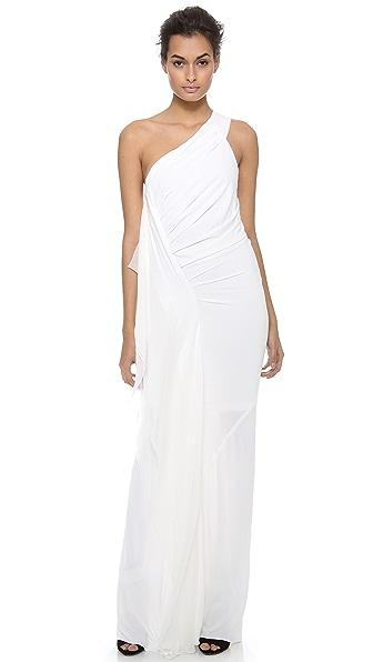 Donna Karan New York One Shoulder Draped Evening Gown
