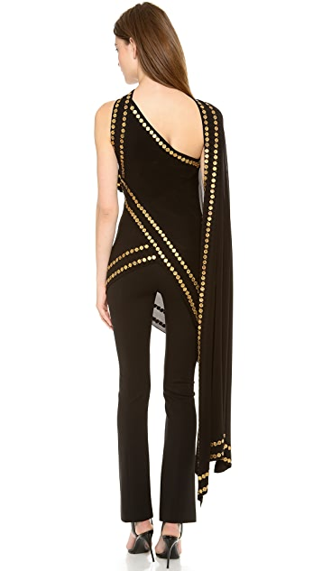 Donna Karan New York Coin Embellished Scarf Tunic