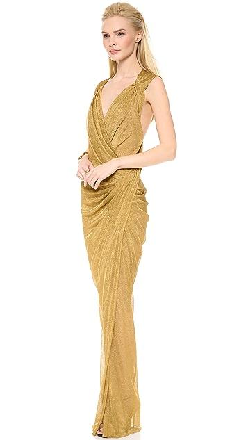 Donna Karan New York Plunge Twist Evening Gown