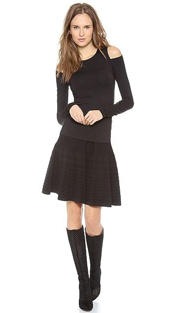 Donna Karan New York Long Sleeve Cold Shoulder Top