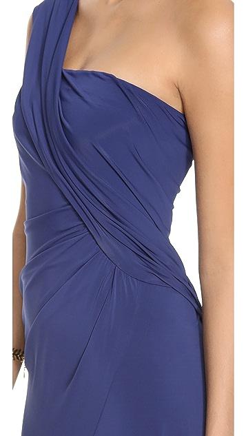 Donna Karan New York One Shoulder Cascade Evening Dress