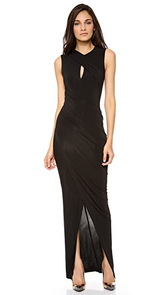 Donna Karan New York Keyhole Draped Evening Dress