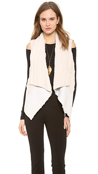 Donna Karan New York Ribbed Shearling Vest