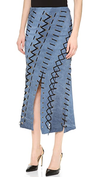 Donna Karan New York Pull On Eyelet Laced Seamed Skirt