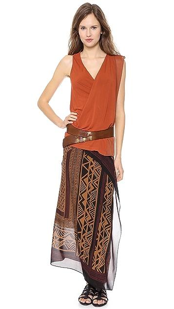 Donna Karan New York Sleeveless V Neck Top with Asymmetric Drape