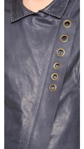 Donna Karan New York Asymmetric Zip Jacket with Grommets