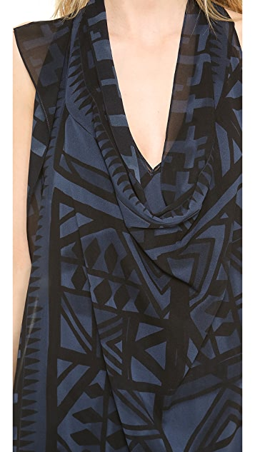 Donna Karan New York Belted Sleeveless Printed Dress