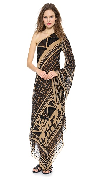 Donna Karan New York Embroidered Evening Caftan