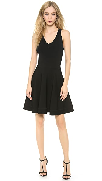 Donna Karan New York V Neck Fit & Flare Dress