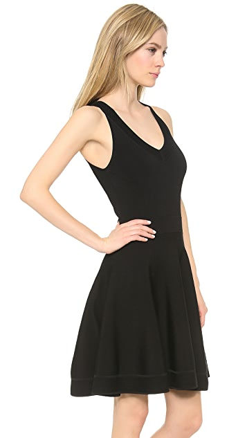Donna Karan New York V Neck Fit & Flare Dress